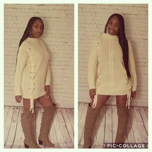 Sweaters - Eyelet Lace Up Sweater